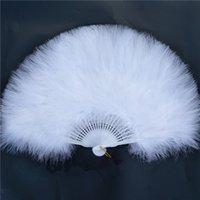 مبيعات المصنع مباشرة السيدات البيضاء تحمل مطوية تركيا ريشة مروحة الجملة اليدوية للرقص الشرقي الزفاف الديكور 42 201125