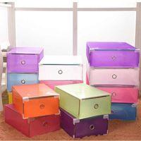 플라스틱 투명 신발 상자 두꺼운 스토리지 신발 상자 접이식 스택 가능한 방진 서랍 정렬 out 신발 캐비닛 KKD3405