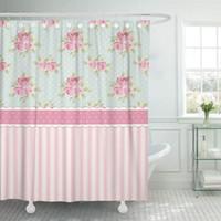 Coloré mignon mignon roses chics et rideaux de douche Polka Dots Tissu en polyester imperméable 72 x 78 pouces avec crochets