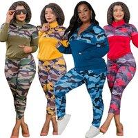 Plus size s-5xl 2 peças roupas para mulheres camuflagem estiramento estiramento casual joggor fitness conjunto de correspondência atacado dropshipping