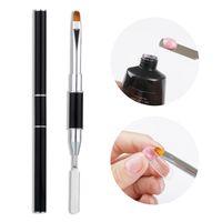 Çift Kafa Tırnak Fırçası Akrilik UV Jel Uzatma Oluşturucu Çizim Kalem Fırçası Temizleme Spatula Çubuk Manikürler Araçları