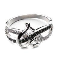 Platinum placcatura cristallo cristallo cubico zircone pietra due cuori forma anello nuziale femmina alla moda brillante gioielli regali per le donne