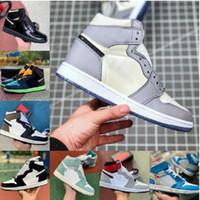 2021 Yeni 1 1 S Basketbol Ayakkabıları Erkekler Kadınlar Kravat Boya OG Bio Hack Ampul Blue UNC Patent Kırmızı Beyaz Siyah Kraliyet Büküm Yeşil Toe Yasak