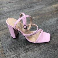 Größe 42-43 2021 Frauen Sandsalen Dicke Heels High-Heeled Sandalen Offene Zehe Plus-Size Damenschuhe Weiß und Rosa Damen Schuhe