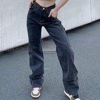 Kadın Kot Düz Wige Bacak Kadın Artı Boyutu Yüksek Bel Streetwear Denim Pantolon Moda Baggy Gevşek Kadın Pantolon