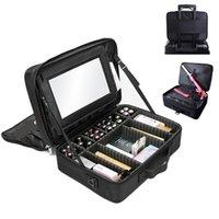 Boîte de rangement cosmétique de grande capacité de marque de marque SAEFEBET Boîte de rangement cosmétique à grande capacité avec l'organisateur de maquillage de miroir Beauty Nail Tool Case Y1116