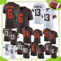 6 Baker Mayfield Homens Futebol Jerseys NCAA 13 Odell Beckham Jr Jerney 95 Myles Garrett 24 Chubb 80 Landry Camisetas de Futbol
