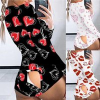 Love Printing Jumpsuit Sexy Pajamas Women' s Onesies But...
