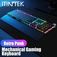 AULA F2088 Controllo rotante Macro retroilluminato Gaming Keyboard Meccanico Black Blue Switch LED Blacklight Gamer Steampunk Keyboards1