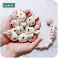 BOTOOOOOBO 10PC Bunny Bunny Bunny Teether Crochet perline per fittizio ciuccio clip fai da te Gioielli in legno per i denti Prodotto del bambino 201123