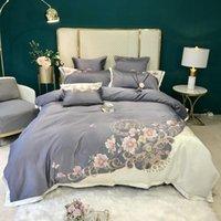 CHIC Bordado Blossom Branco Cinza Retalhamento Duveta Tampa de Luxo Silk Cetim Algodão Soft Bedding Set Cama Folha Fronhas