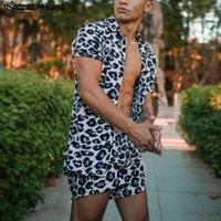 Incerun Men Set Leopard Stampa TrackSuits Traspirante Misurazione a maniche corte Lavatello Hawaiian Shirts Beach Shorts Streetwear Suits 2 PCS S-3XL
