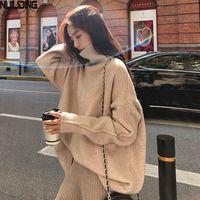 Nijiuding Женщины свободные ленивые осени зима густые свитера носить 2020 новый рукав Turtlenck вязаная рубашка пуловер шерсти