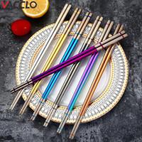 HACCLO 304 Нержавеющая сталь Лазерные покрытые Палочки для еды Китайский Палочка Сталь Кухонная посуда Суши Хаши Чоп-палочки посуды