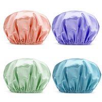 جديد سميكة دش الحرير القبعات حمام دش قبعات غطاء الشعر مزدوجة للماء نقية اللون المطبخ دش قبعات