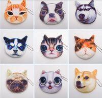 3D chat chien visage peluche monnaie sac à main pochette mignon chiot piquant tête glissière fermeture portefeuille dessin animé sac sac pendentifs charme