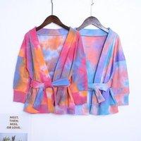 Ragazze Tie-Dye Lungo Cardigan Cappotti con cintura primavera 2021 Abbigliamento per bambini per boutique 1-5T Ragazze Maniche lunghe Giacche sottili Robe