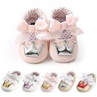 First Walkers Детская обувь Девочка Принцесса Bling Crown Bowknot Малыш PU Резиновая Единственная Антискользящая Младенческая Кэрибра Мокасины