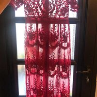 Boho inspired gypsy broderie dentelle maxi robe maxi coule cou de face tunique tonquée robe d'été 2020 nouveau sexy plage robe vêtements femme J1215