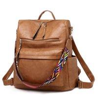 خمر النساء PU جلدية الظهر عالية الجودة حقائب كبيرة مدرسة القدرات السفر الكتف Mochila المرأة الصلبة CROSSBODY حقيبة A1113