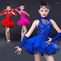 Stage Wear Style Latin Dance Costume Fringe Tassel Stones Dress For Girls Kids Performance Dresses1