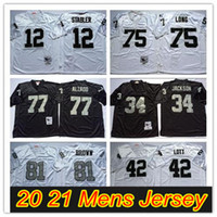NCAA 축구 81 Tim Brown Jerseys 12 Ken Stabler 34 Jackson 75 Howie Long 42 Ronnie Lott 77 Lyle Alzado Vintage Jersey White Black Stitched