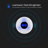 2 in 1 LCD Ekran Karbon Monoksit Duman Combo Dedektörü Pil Kumandalı CO Alarm LED Işık ile Yanıp Ses Uyarı