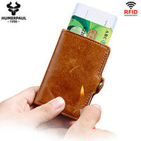 RFID Blockierungsschutz Männer ID Kreditkartenhalter Leder Metall Aluminium Business Bank Karten Fall Mode Männliche minimalistische Brieftasche