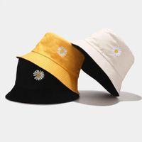 حافة واسعة القبعات مزدوجة الجانب للجنسين هاراجوكو دلو قبعة الصيد في الهواء الطلق كاب المرأة واقية من الشمس ديزي التطريز الصياد
