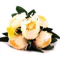 Dekorative Blumen Kränze 5 Große Kopf Seide Pfingstrose Künstliche Blumenstrauß Echtuch Gefälschte Hochzeits-Partei Supplies Indoor Home Garten Dekoration1