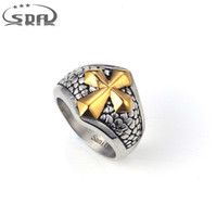 SDA Trendy 316L Stainless Steel with Gold Cross Men' s R...