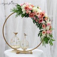 Anello in oro Metallo Arco Partito Sfondo da sposa Decorazione Della Tavolo da tavolo Set Pieno Flower Stand con disposizione floreale artificiale Peonies1