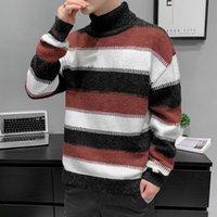 Готовый запас Мужская черепаха шеи свитер повседневная трикотаж осень зима мода свободная личность одежда. Хорошее качество доступно