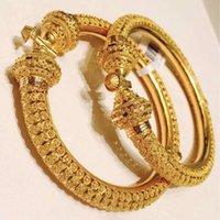 Wando 1-2pcs / lot de calidad superior Dubai Gold Color Bangles para las mujeres Girls Gold Color Bangles Bracelets Regalo de joyería No puede abrir F1211