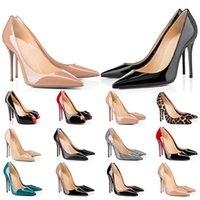 2021 Vermelho Bottoms High Saltos Plataforma Sapato Bombas Nude Preto Patente De Couro Peep-Toe Mulheres Vestido Sandálias De Casamento Sapatos Tamanho 35-42