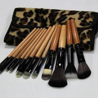 Set Başına 12 adet Kadın Pro Makyaj Fırça Seti Kozmetik Aracı Leopar Çanta Güzellik Fırçalar Kiti RRA3896