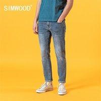 Simwood 2020 летний новый тонкий подходящий светло-голубые джинсы мужчины мода классические джинсовые брюки высококачественные бренд одежда LJ201027