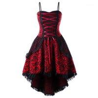 Повседневные платья викторианские готические винтажные платья женщины плюс размер шнуровку Корсет высокий низкий косплей костюм средневековая вечеринка стимпанк платье1