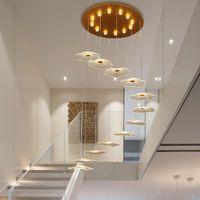 Yeni Avize Dönen Merdiven Modern LED Asılı Süspansiyon Lambaları Dubleks Daire Otel Villa Lobi Işıkları LuminAire