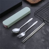 Портативные столовые приборы из нержавеющей стали Набор с коробкой для хранения Chopstick Fork Spon Compare Kit Высококачественные туристические посуды Набор DBC BH 27 G2
