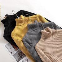 Bygouby Automne Hiver Turtleneck Pull for Women Basic Pull Sweater épais tricoté chaude côtelée cavalière traction femme 201017