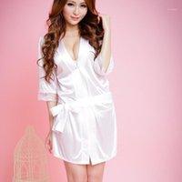 Kadınlar Bayanlar Saten Seksi Katı Dantel İpek Gecelik Pijama Nuisette Femme De Nuus Robe Ile Kemer Bornoz Rahat Nightgown1