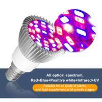 Lâmpadas de Phyto Spectrum E27 LED Plant Plant Close Lamp E14 LED para Plantas 18W 28W Fitolampy GreenHouse Bulbos