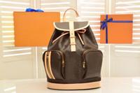 Boğaz Çanta Sırt Çantası 100% Gerçek Deri Marka Tasarımcısı Sırt Çantaları Büyük Boy Kapasiteli Çanta Kahverengi Çiçek Erkek Bayan Çanta Klasik Vintage Geri