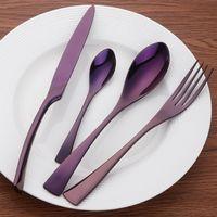 المعادن أدوات السكاكين المقاوم للصدأ اللون مشرق اللون مطلي سكين و شوكة ملعقة dinnereware أطقم الغربية الغذاء أطباق دعوى الجدول ديكور 42ls e19