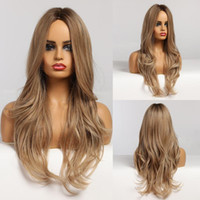 Long Wavy Brown para Loira Ombre Hair Part Middle Part Natural Perucas Sintéticas Para As Mulheres Afro Daily Cosplay Moda Perucas Resistente ao Calor