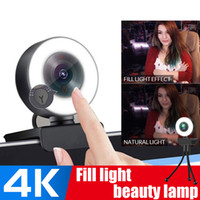 4K Webcam HD 1080p Smart Fix Focus Focus Focus 55W USB Web Macchina videocamera con microfono Ring Light Tripod per PC Computer Twitch Skype Obs Steam
