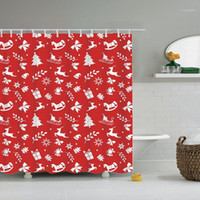 Feliz Natal Feliz Ano Novo Papai Noel Árvore de Natal Chuveiro cortina de cortina de banheiro com ganchos cortinas de banho ou mat1