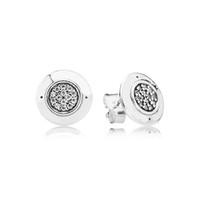 Mulheres Clássico Design Jóias Designer Brincos Caixa Original para Pandora 925 Sterling Silver Crystal Diamante Womens Stud Brinco