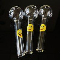 도매 DHL 무료 미소 로고 유리 숟가락 파이프 클리어 컬러 유리 Pyrex 오일 버너 파이프 4 인치 흡연 파이프 Tobacoo 도구 SW15